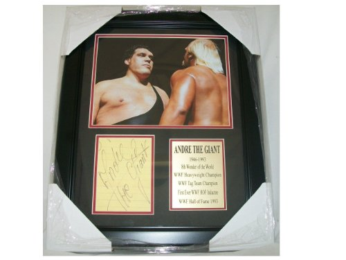 WWF Andre The Giant Autographed Reprint 8x10 Photo Vs. Hulk Hogan Framed