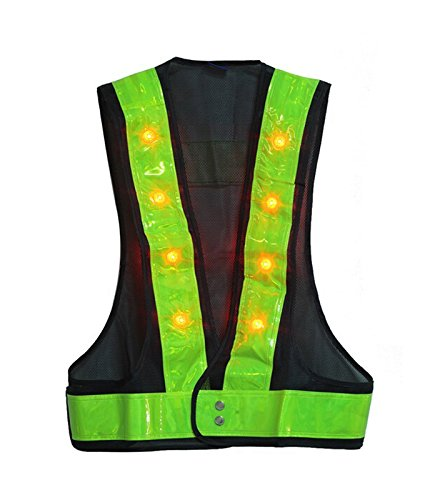 Reflective Flashing Led (HONETECH(TM) Hot Sales! 16 LED Light Up Outdoor Night Warning Flashing Vest With Reflective Stripes fit up to 40