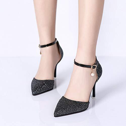 Noir Et Sandales Sexy Femmes Bout Pin Non Zyueer , À Chaussures Hauts Talons Pour À Femme Sequin Boucle Slip Pour xqHnZwFEC