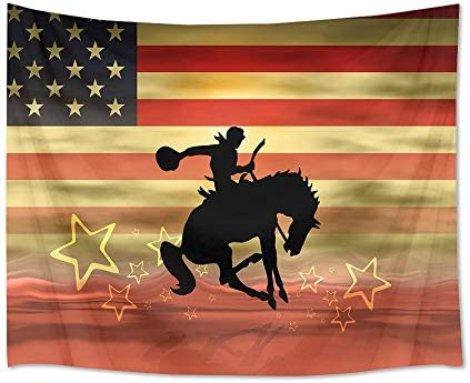 HVEST American Flag Tapestry Cowboy Riding Horse Wall Hanging Western Wall Tapestry for Bedroom Living Room Dorm Decor,92.5Wx70.9H inches