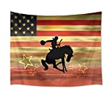HVEST American Flag Tapestry Cowboy Riding Horse Wall Hanging Western Wall Tapestry for Bedroom Living Room Dorm Decor,60Wx40H inches