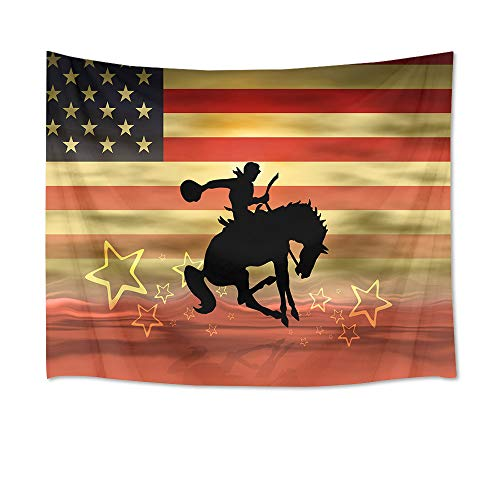 HVEST American Flag Tapestry Cowboy Riding Horse Wall Hanging Western Wall Tapestry for Bedroom Living Room Dorm Decor,60Wx40H inches ()