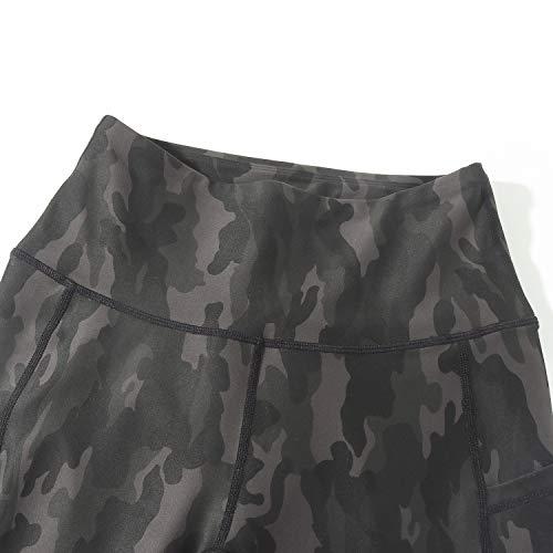 OMKAGI Women High Waisted Tummy Control Workout Leggings with Pockets Camo Pants(M,56-Dark Camo)