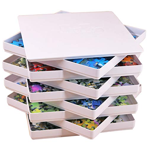 Puzzibly 8 Puzzle Sorting Trays with Lid Jigsaw Puzzle Sorters Organizers Fit 1000 Pieces Gift for Puzzlers