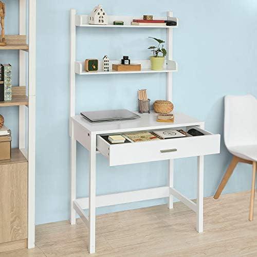 SoBuy FWT52-W Mesa de Escritorio, Mesa de Ordenador con 1 cajón y ...