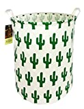 HUNRUNG Large Canvas Fabric Lightweight Storage Basket/Toy Organizer/Dirty Clothes Collapsible Waterproof College Dorms, Kids Bedroom,Bathroom,Laundry Hamper (Green Cactus)