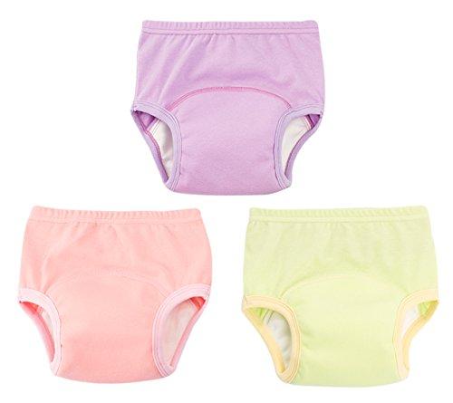 Pants Training Waterproof (Joyo roy 6 Layers Thick Baby Boys Training Underwear Cotton Breathable TPU Waterproof Diaper Pants Solid Pack of 3 Purple Yellow)