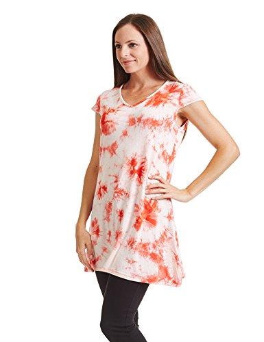 Se Réunissent En Californie Ctc Des Femmes De Partout Dans Mancherons Cou Colorant Cravate V Robe T-shirt - Made In Usa Wdr1088_white_coral