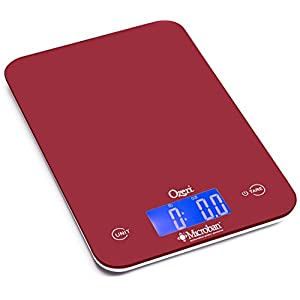 Ozeri Touch II Digital Kitchen Scale with Microban Antimicrobial Product Protection, 18 lb, Red Engine