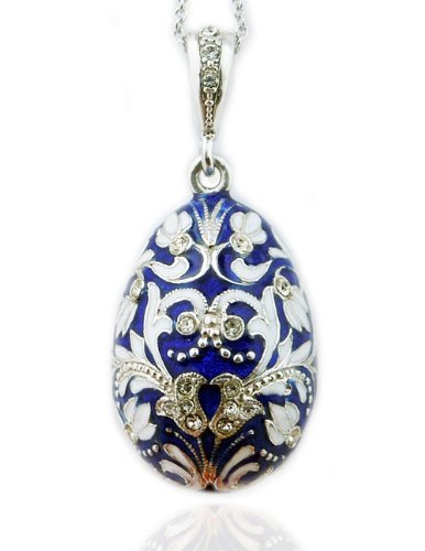 Amazon fine jewelry blue russian egg pendant silver enameled fine jewelry blue russian egg pendant silver enameled 1 12 inch aloadofball Choice Image