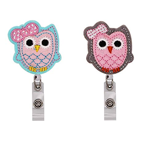 WOLUNWO Embroidery Retractable Badge Holder Reel on ID Name Card Holders with 360° Alligator Swivel Clip 2 Pack Owl Series (Owl) ()