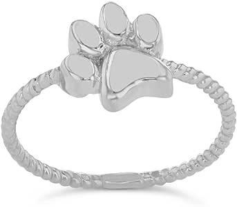 Elegant Sterling Silver Dog Paw Print Statement Rope Ring