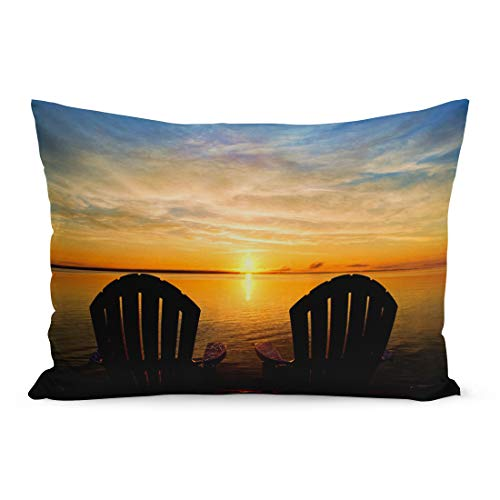 (Semtomn Throw Pillow Covers The Backs of Two Adirondack Chairs Waiting at End Dock to Enjoy Early Morning Summer Sunrise Pillow Case Cushion Cover Lumbar Pillowcase for Couch Sofa 20 x 26 inchs)