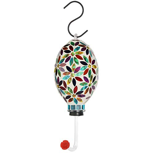 Lily's Home Mosaic Glass Outdoor Hanging Hummingbird Feeder with Hanging Hook. 6 Inch (Multi Color Flower) (Hummingbird Mosaic)