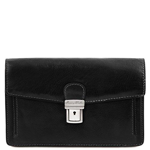 bolsillo Marrón de Elegante Leather piel en Tuscany Tommy Negro oscuro TL141442 señor qztBaapn