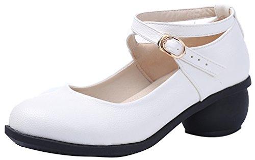 Abby 6821 Dames Charmante Verse Gesloten Teen Mary Jane Ademende Blokhak Beoefen Moderne Vierkante Dans Sneakers Wit