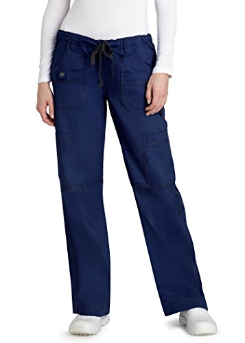Adar Pop-Stretch Junior Fit Low Rise Multi Pocket Straight Leg Pants - 3100 - Navy - XS