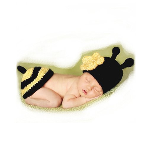 Stinger Bumble Bee Costume (Baby Infant Photograph Props, Lovely Bee Type Baby Outfit With Hat Band Unisex Christmas Gift)