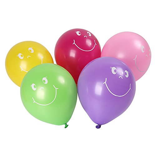 Shinehalo 100PCS Smiley Face Balloons with Pump Printing Balloons Latex Balloons Assorted Color 9 Inch Balloons for Parties, Birthdays, Wedding and Celebration for $<!--$4.99-->