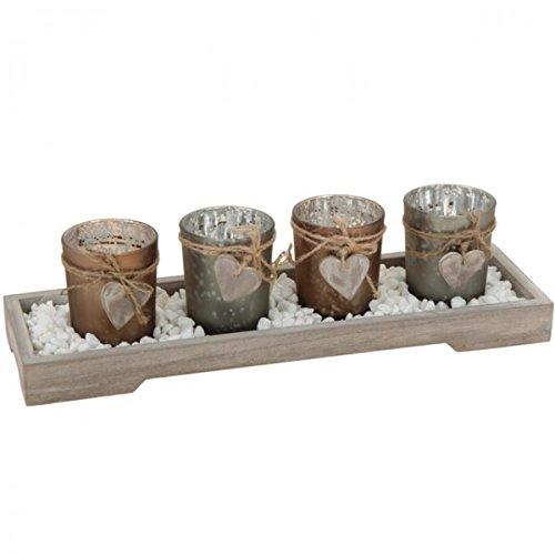 Teelichthalter Set Teelicht Tischdeko braun Weihnachten Winter Dekoration Adventsgesteck , Farbe:Braun