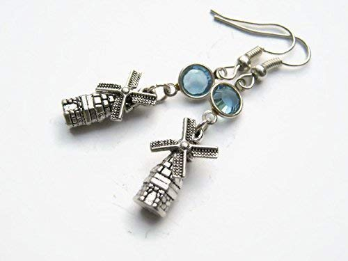 Windmill Birthstone Earrings, Dutch Windmills Earrings, Personalized Country Earrings, Windmill Jewelry