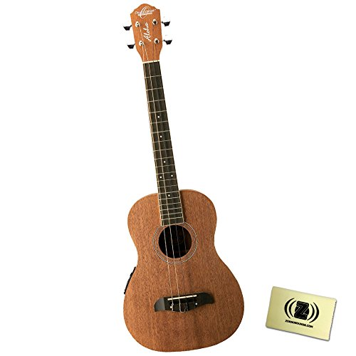 Oscar Schmidt OU52E 4 String Baritone Ukulele with Mahogany Top, Back & Sides, Chrome tuners and Zorro Sounds Ukulele Polishing Cloth