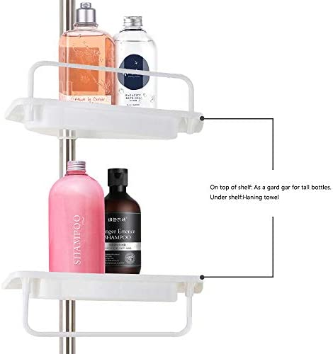 Bigzzia Shower Caddy Bathroom Corner Shelf 4 Tier Adjustable Shower Rack Stainless Telescopic Shower Organiser Caddy Holder No Drilling Pole Height 105 To 310cm Amazon In Home Kitchen