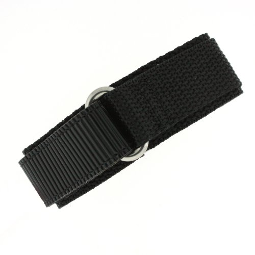 Watch Band Nylon One Piece Wrap Sport Strap Black Adjustable Hook and Loop 18 millimeter