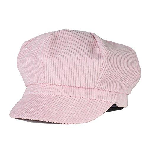[Belsen Unisex Cotton Corduroy Newsboy Cap Gatsby Ivy Hat (Pink)] (Womens Pink Corduroy)