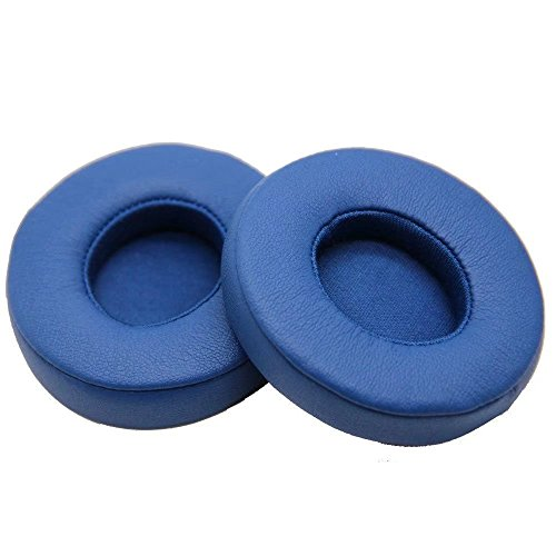 JahyShow Replacement Ear Pad / Ear Cushion / Ear Cups / Ear Cover / Earpads Repair Parts for Beats by Dr. Dre Solo2, Solo 2.0 On-Ear Headphones Cable Clip (Wired, Blue)