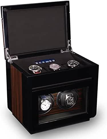 TPR Double Watch Winder For Men's Automatic Watches, Plus Three Watch Box Storage With Quite Motor
