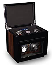 TPR Double Watch Winder For Men's Automatic Watches, Plus Three Watch Box Storage