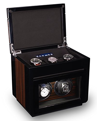 TPR Double Watch Winder For Men's Automatic Watches, Bonus Three Watch Box Storage