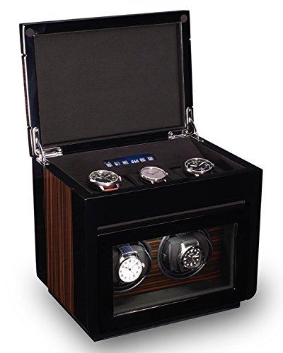 TPR Double Watch Winder For Men's Automatic Watches, Bonus Three Watch Box Storage