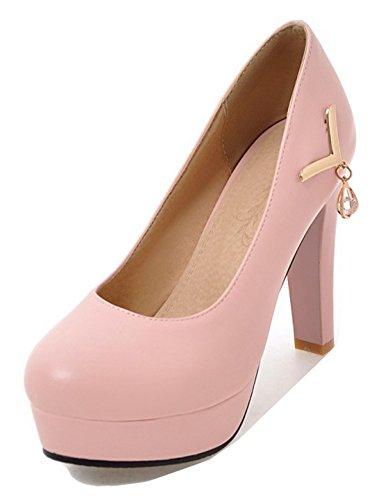Aisun Womens Elegant Low Cut Round Toe Dressy Bridal Party High Chunky Heel Slip On Platform Pumps Shoes Pink UDEcFy