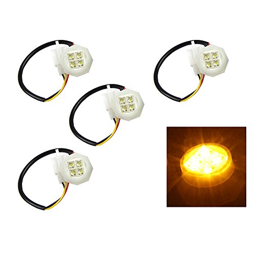 Xprite 4 Yellow(Amber) LED Hide Away Strobe Tube for 80w / 120w / 160w Kits Headlight Replacement Bulbs