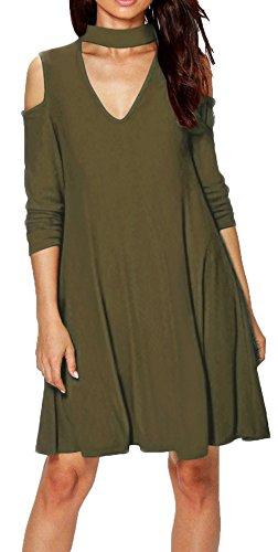 Longwu Womens manga larga casual Halter Strapless V Neck suelta vestido Ejercito verde