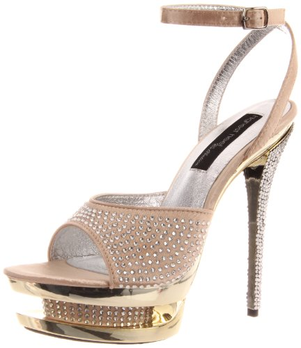 The Highest Heel Women's Diamond-71-Cham Platform Sandal,Champagen Satin,11 M US -