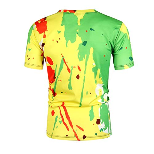 Mens Shorts Sleeve t Shirts, Summer 3D Graphic Round Neck Tees Tops Loose Color Splash Paint Ink Casual Blouse Shirts (XL, Yellow) by Jinjiums mens T shirts (Image #3)
