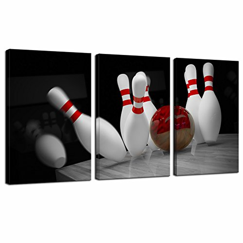 Pin Bowling Photo (Sechars - 3 Piece Canvas Wall Art Red Bowling Knock Down Pins Picture Painting Black and White Red Canvas Print Sports Poster Modern Bar Club Gym Decor - 16