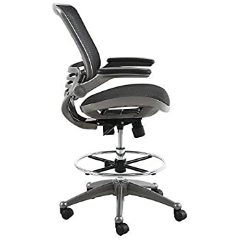 Image of Harwick Evolve All Mesh Heavy Duty Drafting Chair, Gunmetal Finish Home and Kitchen