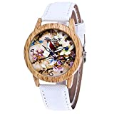 Fashion Clearance Watch! Noopvan Womens Flowers Watches,Unique Analog Lady Watches Male and Female Watches on Sale Casual Wrist Watches for Women Comfortable PU Leather Watch-H27 (White)