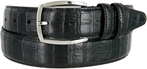 MA133861 Crocodile Embossed Genuine Leather Dress Casual Belt 1-3/8