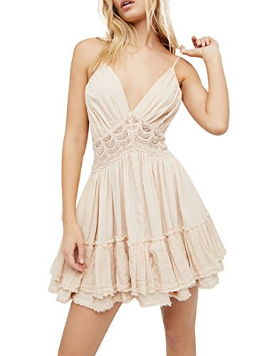 CA Mode Women Bohemia Halter V-neck Crochet Lace Backless Cocktail Prom Party Beach Mini Dress,Beige,Medium