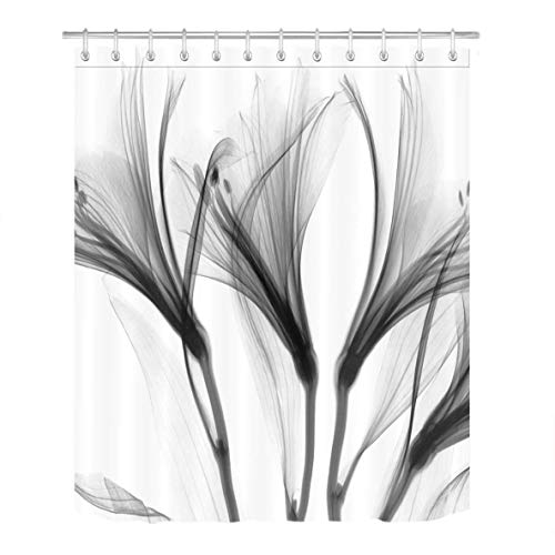 Abaysto Xray Effect Lily Flower Pattern White Grey Floral Theme Print Home Decor Shower Curtain Sets with Hooks Polyester Fabric Great Gift ()
