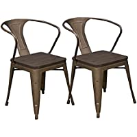 Abbie Home Set of 2 Stackable Industrial Chic Dining Bistro Cafe Side Chairs, Brown Powder Coated with Dark Rustic Vintage Wood Seat - (Wooden seat+Arms)
