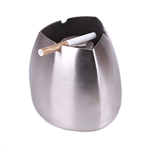 Ashtray, Windproof Cigarette Ashtray for Outdoor or Indoor Use, Newness Stainless Steel Desktop Decoration Home Ash Tray