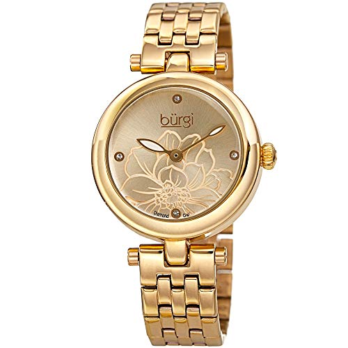 Burgi Stainless Steel Designer Women's Watch –Gold Tone Case, 4 Genuine Diamond Markers on Flower Embossed Sunray Dial - BUR223YG