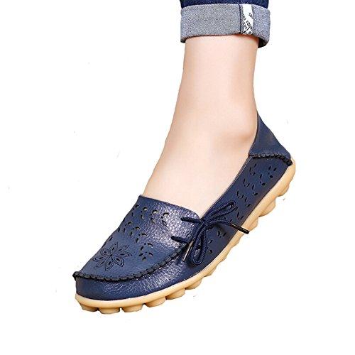 Angelliu Femmes Casual Creux Automne Printemps En Cuir Doug Appartements Mamans Chaussures Mocassins Bleu Foncé