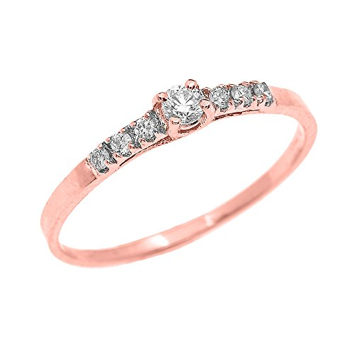 Dainty 10k Rose Gold Diamond Solitaire Engagement Proposal Promise Ring (Size 12)